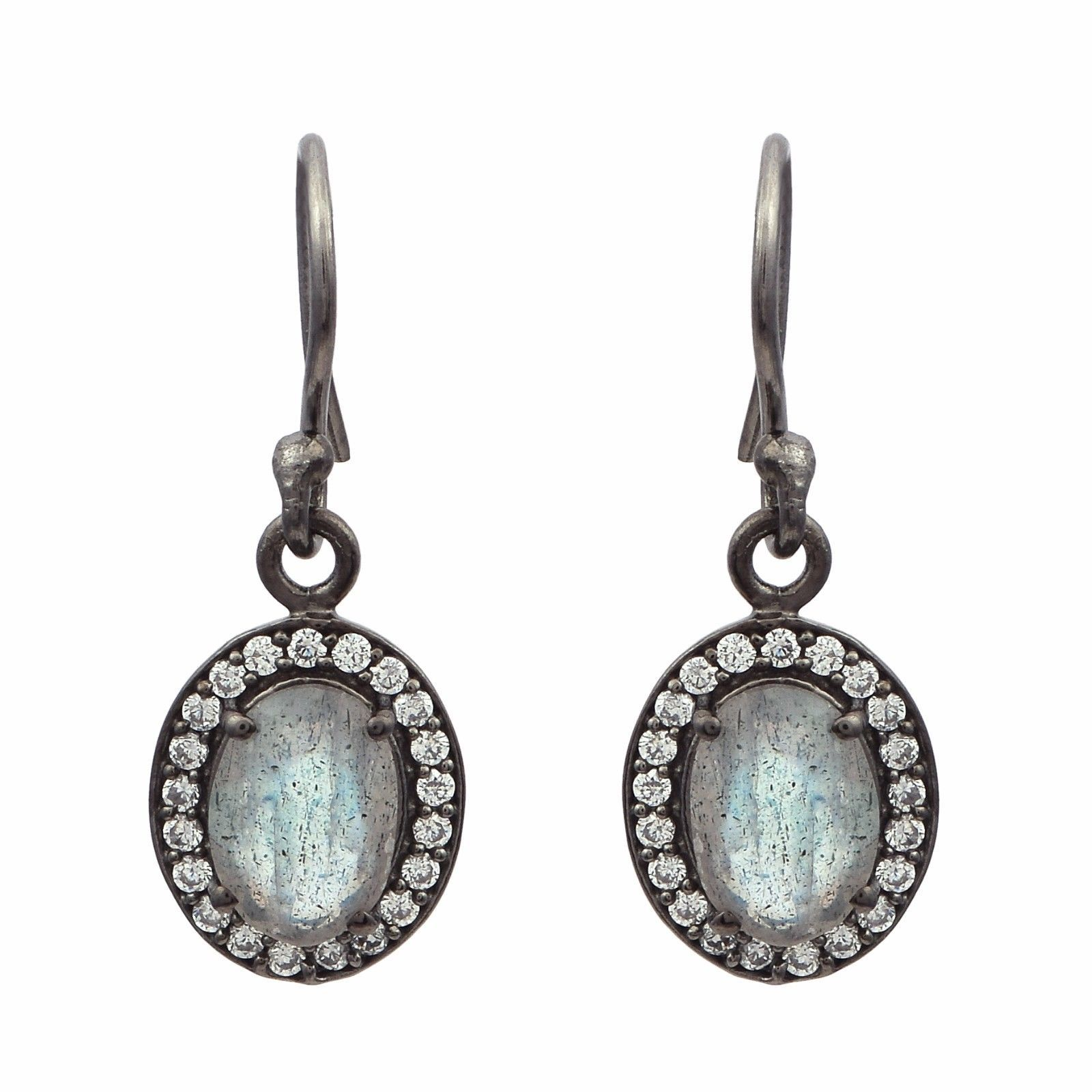 Labradorite & Cubic Zirconia 925 Sterling Silver Earring Shine Jewelry SHER0807