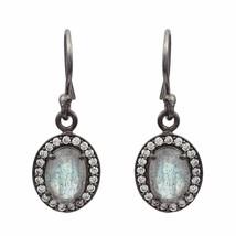 Labradorite & Cubic Zirconia 925 Sterling Silver Earring Shine Jewelry S... - $9.40