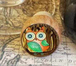 Woodland Owl Wine Stopper, Handmade Kitsch Owl Wood Bottle Stopper - $8.86