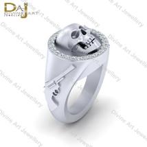 Pirates Gun With Skull Ring White Moissanite Halo Skull Engagement Ring ... - £412.55 GBP
