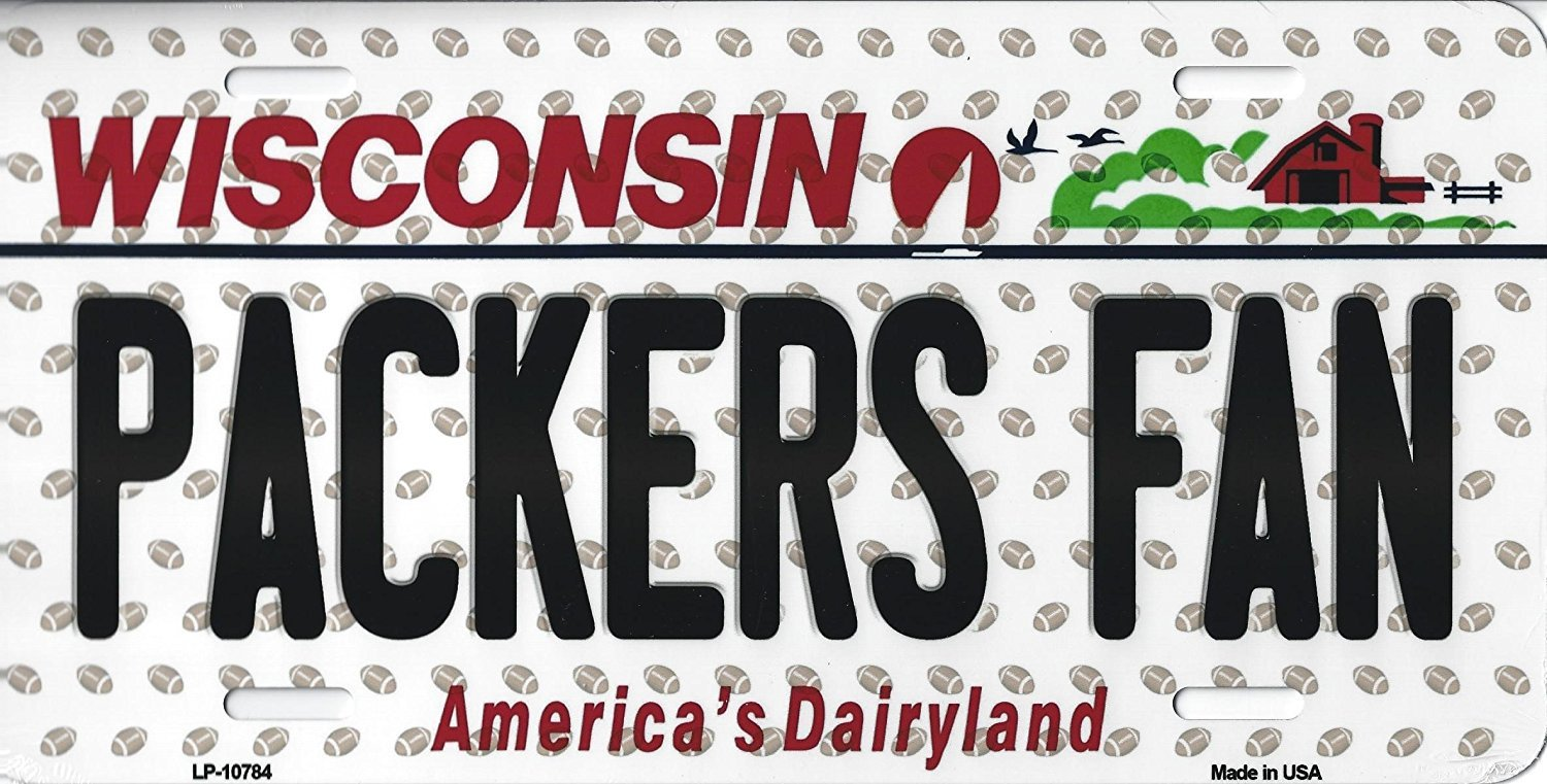 Packers Wisconsin State Background Metal License Plate Tag (Packers Fan)