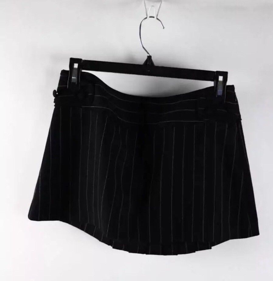 Arden B. Black Vertical Stripe Black Pleated Schoolgirl Mini Skirt 0
