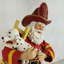 Kurt S Adler Fire Chief Santa Claus with Ladder Dalmation Puppy Figurine... - $64.24