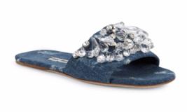 Miu Miu Crystal Embellished Blue Denim Slides 36EU 6US Sandal Flat Runway $695 - $355.51