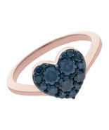 Heart Shaped Valentine Ring In 10k Rose Gold With 0.75Ct Blue Diamond, S... - $243.69