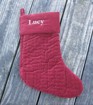 Pottery Barn Christmas Stocking Burgundy Channel Quilted Velvet LUCY Mon... - $19.00