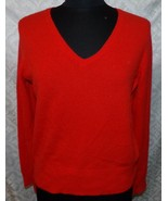 Madison Studio Red V-neck Cashmere Sweater L Womens Large - $36.96