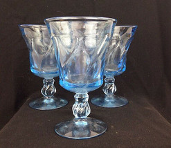 3 Vintage 1950s Fostoria Jamestown Blue Water Glasses Goblets Elegant Gl... - $37.39