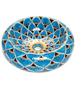 """Mexican Ceramic Bathroom Sink """"Turquoise Peacock"""" - $260.00"""