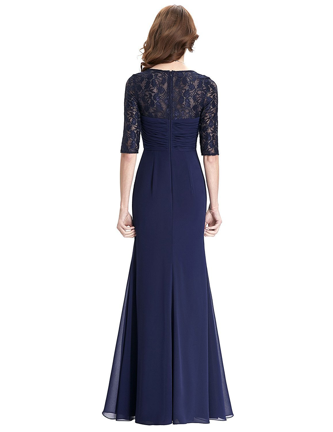 Chiffon 1/2 Sleeve Long Wedding Evening Prom Dress Navy Blue Mother of the Bride