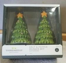 NEW Christmas Earthenware Salt & Pepper Shaker Set Threshold Christmas T... - $12.99