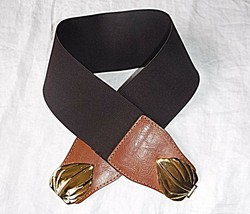 COOL 80S POWER BROWN TAN STRETCH FAUX LEATHER GOLD COLOUR CLASP BELT    ... - $7.21