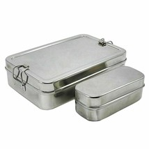 Stainless Steel Lunch Box Tiffin Box Food Container Rectangular Carrier Set - $14.86