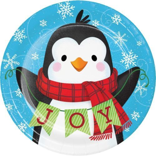"Snowman and Penguin Joy Paper 8 Ct 7"" Dessert Cake Plates"