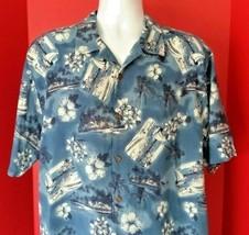 Reyn Spooner Blue Floral Postcards Mens Hawaiian Button Up Shirt Vacation M - $24.99