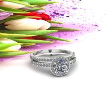 Brilliant Halo Engagement Ring Set D/VVS1 Diamond 14k White Gold Over Silver - $111.99