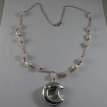 .925 SILVER RHODIUM NECKLACE WITH PINK CRISTALS, WHITE PEARLS AND MOON image 2