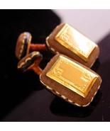 Victorian Engravable Cufflinks - 18kt gold - rare unusual set - gold bla... - $275.00