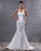 Elegant White Halter Neck Floor Length Lace Embellished Wedding Dress - $164.00