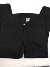 Women Black Pants Skinny Low Waist 28/28 By H&M Denim Destressed Knees - $14.96