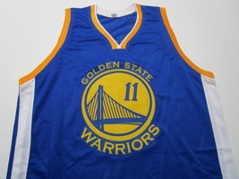 KLAY THOMPSON / AUTOGRAPHED GOLDEN STATE WARRIORS BLUE CUSTOM JERSEY / COA image 2