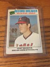 Nolan Ryan 1977 Topps Baseball Record Breaker Card # 234 - $3.00