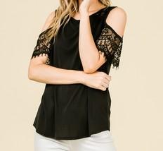 Black Cold Shoulder Top, Lace Cold Shoulder Top, Cut Out Sleeve Top, Womens image 3