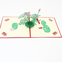 Dragonfly And Lotus--3D Greeting Card, Pop Up Card, Pop Out Card - $5.69