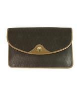 Christian Dior Vintage Brown Monogram Canvas Tan Leather Trim Flap Clutc... - $157.41