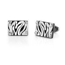 Stainless Steel Zebra Pattern Cufflinks - $54.99
