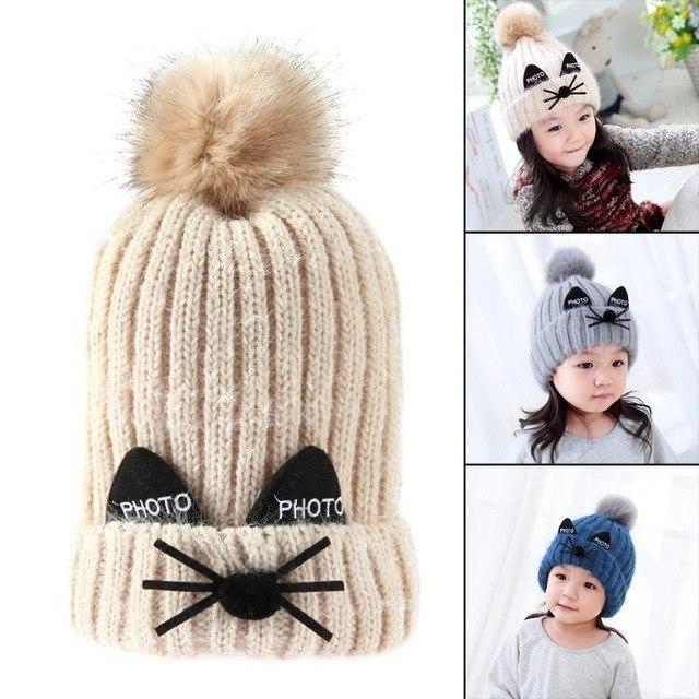 c014087ed36 R baby knitted hat kids double layer fur ball cap cute cartoon crochet warm  children.