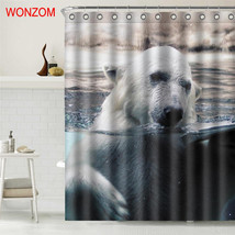 WONZOM Tiger Polyester Fabric Bear Shower Curtain Bathroom Decor Dolphin Waterpr image 3