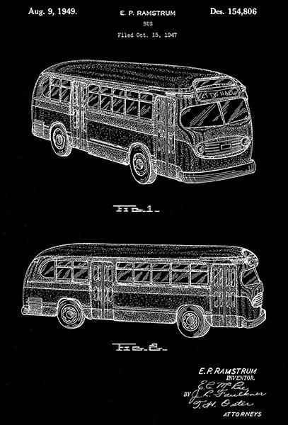 Primary image for 1949 - Bus - E. P. Ramstrum - Patent Art Poster