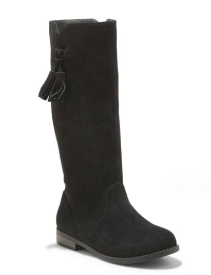 Chat & Jack Filles Noir Helena Faux Daim mi-Mollet Équitation Fashion Boots Sz