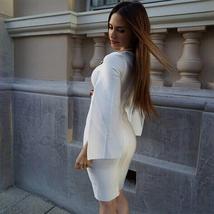 Celebrity Party White Batwing Sleeve Bandage Dress image 3