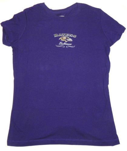 Junior Women's Baltimore Ravens Shirt Football Tee Purple Glitter Logo T-Shirt