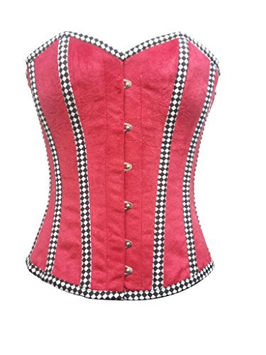 Primary image for Red Velvet Check Stripes Gothic Burlesque Bustier Waist Training Overbust Corset