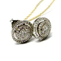 White Gold Earrings 750 18k, 0.31 Carat Diamonds, Button, Oval, sett image 3