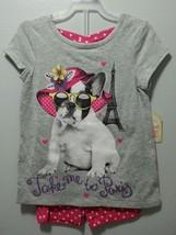 NEW GIRLS 2 PIECE OUTFIT SHIRT SHORTS TAKE ME TO PARIS SIZE 4 DOG SUNGLA... - $9.99