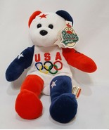 Team Bears Authentic Bean Plush Bears USA Olympic Victory 11 Red White Blue 1999 - $14.99