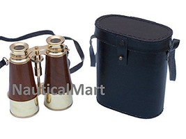 "NauticalMart Captain's Brass and Wood Nautical Binoculars with Leather Case 6"" - $117.81"