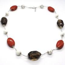 Silver necklace 925, Jasper, Howlite, Smoky Quartz, Oval Chain image 1