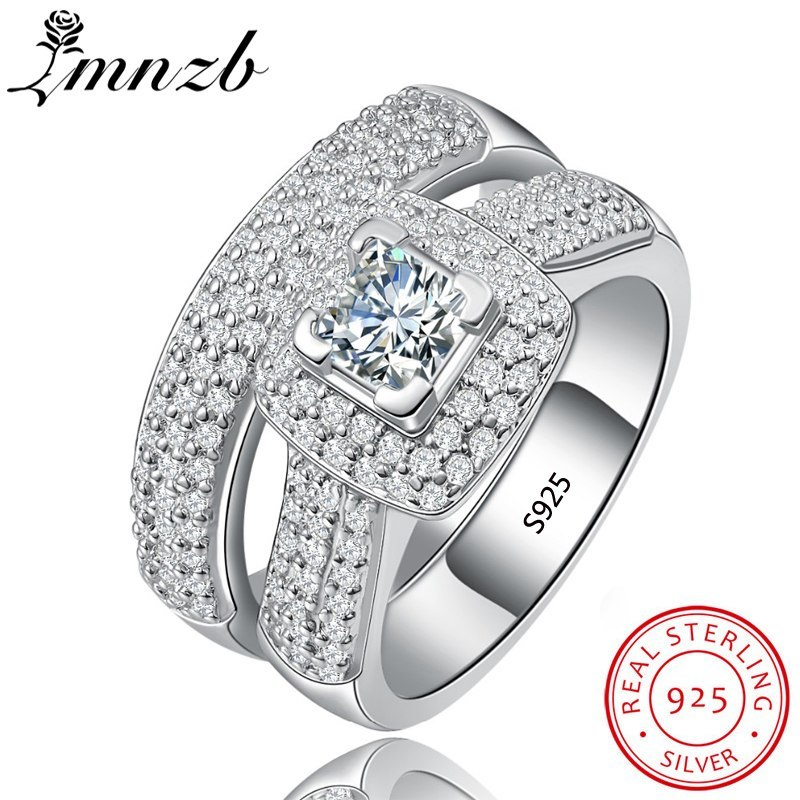 Omise original 925 sterling silver ring set classic wedding jewelry cubic zircon rings for women