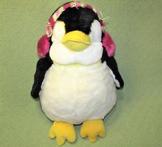"15"" Russ PENGUIN TUX Plush Stuffed Purple Striped Ear Muffs Daisy Chain 33143  - $34.65"