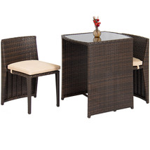 Smart Wicker 3PC Patio Garden Bistro Set Furniture Table Chairs Cushions... - $354.36