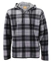 Men's Casual Flannel Zip Up Fleece Lined Plaid Sherpa Hoodie Lightweight Jacket image 14
