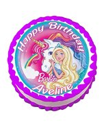 Barbie Unicorn Round Edible Cake Image Topper - $8.98+