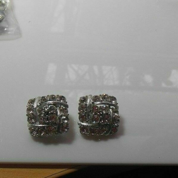 Primary image for Lisner Silver-tone Square Clear Rhinestone Clip-on Earrings