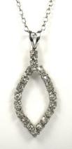 Rhinestone Pendant Necklace Navette Open Pendant 1970s Silvertone Chain - $28.00