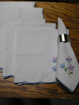 6 Napkins White With Scalloped Blue Edge, Embroidered Blue And Purple F... - $12.99